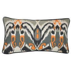 This set of two oblong linen throw pillows will perk up your den or living room. The abstract pattern draws the eye and brings eclectic flair to your decorating. These easy-care pillows feature feather-and-down fill and a zippered cover.