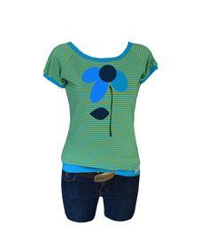 """T-Shirts mit Applikation - Iza Fabian -Shirt """" FLOWER nr 8"""" turkis,streifen - ein Designerstück von Iza-Fabian-Design bei DaWanda"""