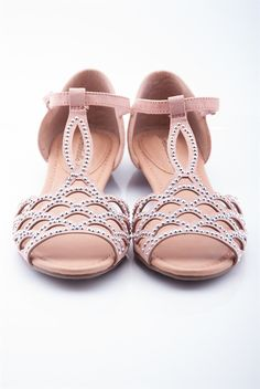 Ornamental Open Toe Diamond Stud Cage Sandals - Blush from Casual & Day at Lucky 21 Lucky 21