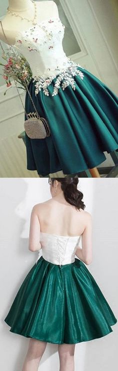 2017 Cute Appliques Homecoming Dress Sexy Strapless Lace-up Short Prom Dress Party Dress WF01-15