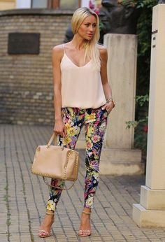 95fa44423b Floral skinnies + strappy heels make it office friendly by putting a blazer  on top