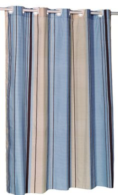 Wavy Vertical Lines Fabric Shower Curtain with Flocking, Blue ...