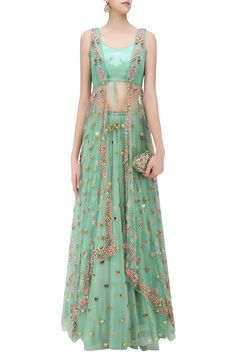 Jade Green Lasercut Acrylic Motifs Lehenga and Jacket Set by Papa Don't Preach by Shubhika Indian Designer Outfits, Designer Dresses, Indian Dresses, Indian Outfits, Lehenga Designs, Indian Attire, Bridal Outfits, Bollywood Fashion, Indian Fashion
