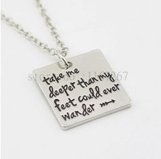 """This hand stamped """"Take me deeper than my feet could ever wander"""" necklace pendant is a nice gift to give the one you love. The chain is a link zinc alloy chain with a bone material pendant. It is app"""