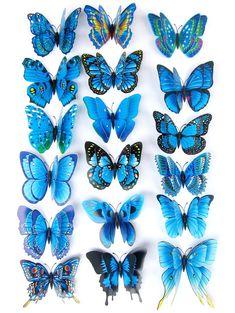 12Pcs 3D Butterflies Magnet DIY Home Decor Wall Stickers - BLUE