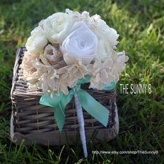 Gardenia Collection - Custom Handmade Bride Alternative Wedding Bouquet - Natural, Weddings, Sola Wood, Paper Flowers, Tiffany Blue, Sunny B