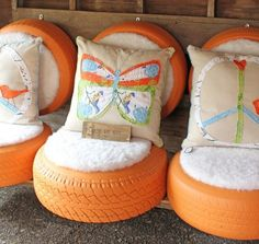 Recycle Old Tires Crafts ideas. Very beautiful innovative and awesome gardening and home decor ideas. Recycled old tires home decor Tyres Recycle, Reuse, Upcycle, Recycled Tires, Recycled Crafts, Tire Craft, Tire Chairs, Lounge Chairs, Used Tires