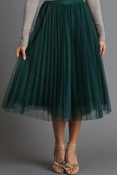Vienna Green Pleated Tulle Midi Skirt #greentulleskirt