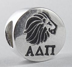 Alpha Delta Pi Sorority Greek Letter & Black Lion Euro Bead Sterling Silver NEW