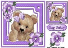 Cute fuzzy bear with purple bow and flowers 8x8 on Craftsuprint - View Now!