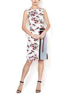 Sparrow Print Geometric Applique Dress by Carolina Herrera at Gilt