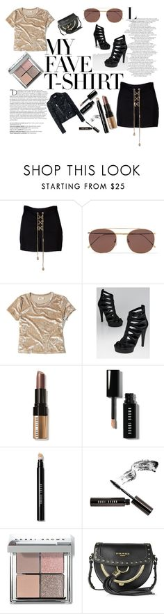 """My Fave Tshirt"" by veronicakaira on Polyvore featuring Balmain, Dsquared2, Illesteva, Hollister Co., Gucci, Bobbi Brown Cosmetics, Yves Saint Laurent, balmain, bikerjacket and BobbiBrown"