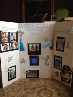 "1st grade Science Fair display board using Frozen theme. We named this project ""Queen Elsa's Snowflake Recipe"" and showed the steps on how to make a snowflake using pipe cleaners, borax, and water. Two 1st grade girls did this project together w/ some help from their moms!"