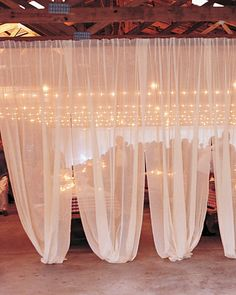 In the open-air pavilion, diaphanous muslin separates the dining area from the kitchen, providing an intimate feel. Wedding Events, Our Wedding, Wedding Ideas, Wedding Inspiration, Wedding Shit, Light Decorations, Wedding Decorations, Do It Yourself Design, Red And White Weddings