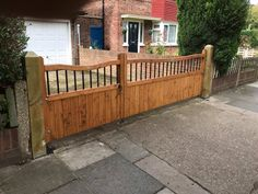 Split driveway entrance gates, the Shrewsbury design. Made in the UK using redwood pine with feature metal inset bars. Driveway Entrance, Entrance Gates, Western Red Cedar, Pine, Deck, Metal, Outdoor Decor, Design, Pine Tree