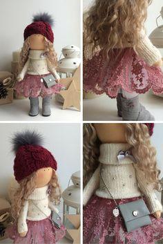 Love doll Tilda doll Art doll Holiday doll handmade red blonde colors Soft doll…