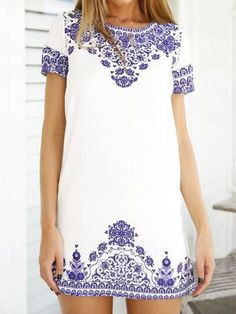 White Tile Print Short Sleeve Keyhole Back Shift Dress | Choies