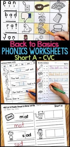 Short A Phonics Worksheets that give students practice read and write short a CVC words. There are 18 different worksheet templates with multiple pages for each template to accommodate all of the short a CVC words. Phonics Worksheets, Phonics Activities, Reading Activities, Teaching Reading, Short A Activities, Teaching Phonics, Indoor Activities, Guided Reading, Classroom Activities