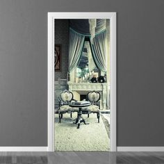 Wallpaper for door Wally Vintage Room, Door Wall, Room Decor, Curtains, Vintage Ideas, Doors, Wallpaper, Photograph, Painting