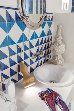 Jolie collection #sea inspiration #white and blu #pattern #triangle #maiolica…
