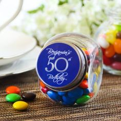 Personalized 50th Birthday Mini Candy Jar Party Favors 75th Parties