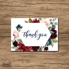 Floral Thank You Card, Baby Shower Thank You Card, Bridal Shower Thank You Card - rustic watercolor roses olive burgundy pink blush - Grace by DIVart on Etsy