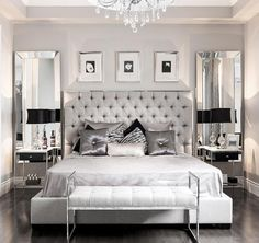 This modern glam bedroom uses shiny and lustrous fabrics, metallics and hues of grey, silver and black to create a glamorous and modern bedroom design. Glam Bedroom, Trendy Bedroom, Bedroom Colors, Bedroom Sets, Home Decor Bedroom, Modern Bedroom, Mirror Bedroom, Silver Bedroom Decor, Bedding Sets