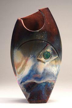 Pisces vase with blue flash ~ By Rose Yard Raku Studios©