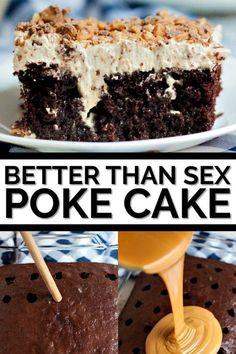 Better Than Sex Cake Recipe - Poke cake recipes - Better Than Sex Cake Recipe, Better Than Anything Cake, Dessert Simple, Easy Cake Recipes, Baking Recipes, Best Dessert Recipes, Bts Cake, Köstliche Desserts, Savoury Cake