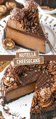 This Nutella is thick, creamy, rich and flat out amazing! It's baked in an Oreo crust and topped with Nutella ganache and I'm totally obsessed with it! Köstliche Desserts, Delicious Desserts, Dessert Recipes, Yummy Food, Food Cakes, Cupcake Cakes, Oreo Cupcakes, Chocolate Cupcakes, Boeuf Stroganoff Rezept