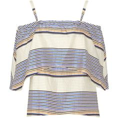 Tanya Taylor Ione Striped Off The Shoulder Blouse (£310) ❤ liked on Polyvore featuring tops, blouses, shirts, striped off the shoulder top, sweater pullover, striped blouse, cotton blouse and white blouse