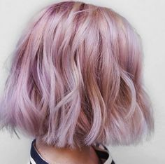 pastel pink wavy loose curl short hairstyle