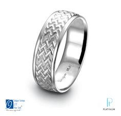 The Knot platinum must-have! Unique Settings of New York platinum men's wedding band with a milled herringbone finish.