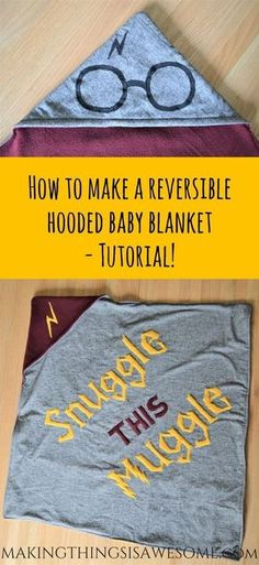 DIY Reversible Hooded Blanket Tutorial / cute Harry Potter craft idea for a baby shower gift baby blanket baby clothes baby projects baby stuff baby toys Baby Harry Potter, Harry Potter Baby Shower, Harry Potter Thema, Harry Potter Quilt, Theme Harry Potter, Harry Potter Baby Clothes, Harry Potter Fabric, Harry Potter Crochet, Harry Potter Nursery