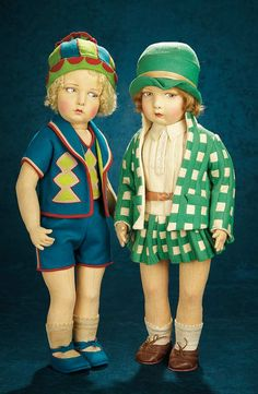 Forever Young - Marquis Antique Doll Auction: 34 Italian Felt Girl, Model 109, by Lenci in Original Stylish Green Checkered Costume