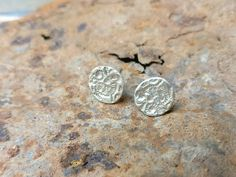 Circle Studs Textured Earrings Silver Stud Earrings Round | Etsy