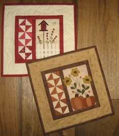 Seasons Two Red Button Quilt Company is a home based quilting pattern and kit business by Emily Hardwig, based in Bemidji, Minnesota. Mini Quilt Patterns, Mug Rug Patterns, Quilted Table Toppers, Quilted Table Runners, Small Quilt Projects, Quilting Projects, History Of Quilting, Primitive Quilts, Fall Sewing