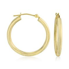 "These 14kt yellow gold hoop earrings are #classic accessories, indeed! Wear them anywhere from the beach to a fancy ball. Hanging length: 1""."