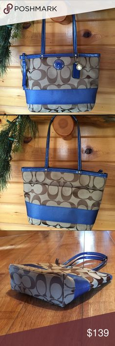 "COACH Signature Stripe Tote Handbag F19046 Coach Signature Stripe Tote F19046 * Signature Fabric with patent fabric trim.  * Zip top closure  * Fabric lining * Inside zip pocket, cellphone and multifunction pocket  * Color-B4/Khaki/Cobalt  * 9-3/4"" (L) x 9-3/4"" (H) x 3-1/2"" (W) * 8-1/2"" Handle drop * GUC Coach Bags Totes"