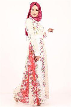 Tesettür Elbise -Krem 2379