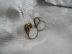 PIF Art Deco Brass And Mother of Pearl Cufflinks  | RosesHeirlooms - Jewelry on ArtFire