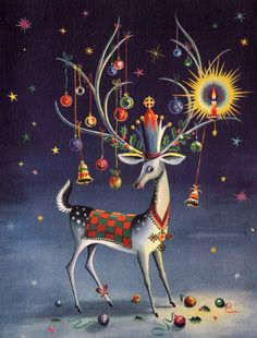 vintage Christmas reindeer Modern Christmas Cards, Vintage Christmas Images, Christmas Graphics, Vintage Holiday, Christmas Pictures, Christmas Greetings, Christmas Postcards, Holiday Cards, Christmas Tree Scent