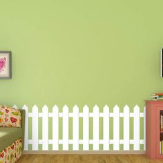 White Picket Fence Wall Decal Custom Vinyl Art Stickers For - Custom reusable vinyl wall decals