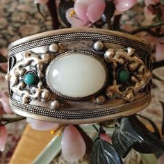 Vintage moonstone cuff Gorgeous detail small turquoise beads 800 silver Vintage Jewelry Bracelets
