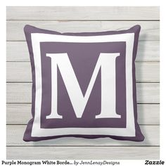 Purple Monogram White Border Frame Custom Initial Outdoor Pillow Monogram Frame, Monogram Initials, Blue Square, Throw Pillow Sets, New Home Gifts, Outdoor Throw Pillows, Dusty Blue, Fabric Patterns, Blue And White