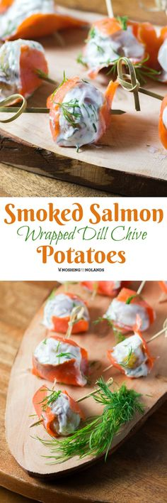 Smoked Salmon Wrapped Dill Chive Potatoes by Noshing With The Nolands are an elegant appetizer that are sure to impress your guests! Perfect for any holiday or occasion!