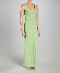 This Just Love Heather Gray & Green Stripe Maxi Dress by Just Love is perfect! #zulilyfinds