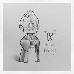Just so you know this would be great for a little nephew......hint hint    Star Wars ABCs by Dave Daniels on Instagram @jaggedgrace. K is for Kenobi.