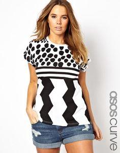 ASOS CURVE T-Shirt In Zig Zag Spot Print