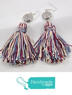 Tassel Earrings in Red and Blue with Silver Southwestern Bead from Jooniebeads Treasures https://www.amazon.com/dp/B01MQ2X0G2/ref=hnd_sw_r_pi_dp_OSMfyb1DBBDZJ #handmadeatamazon